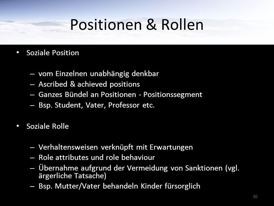30 Positionen & Rollen Soziale Position – vom Einzelnen unabhängig denkbar – Ascribed & achieved positions – Ganzes Bündel an Positionen - Positionssegment – Bsp.