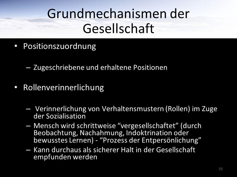 33 Grundmechanismen der Gesellschaft Positionszuordnung – Zugeschriebene und erhaltene Positionen Rollenverinnerlichung – Verinnerlichung von Verhalte
