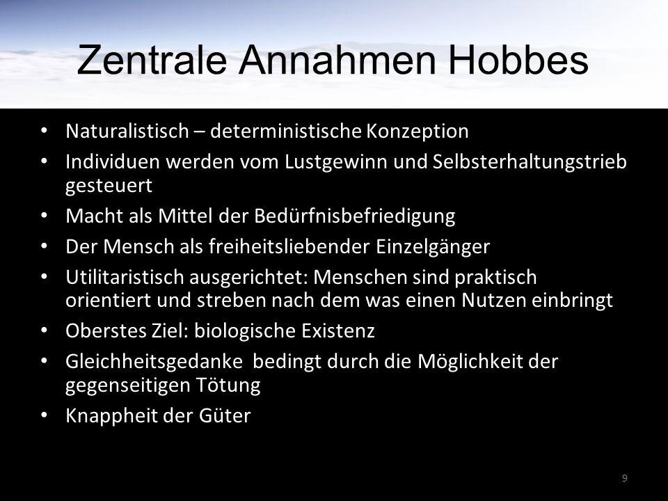 9 Zentrale Annahmen Hobbes Naturalistisch – deterministische Konzeption Individuen werden vom Lustgewinn und Selbsterhaltungstrieb gesteuert Macht als