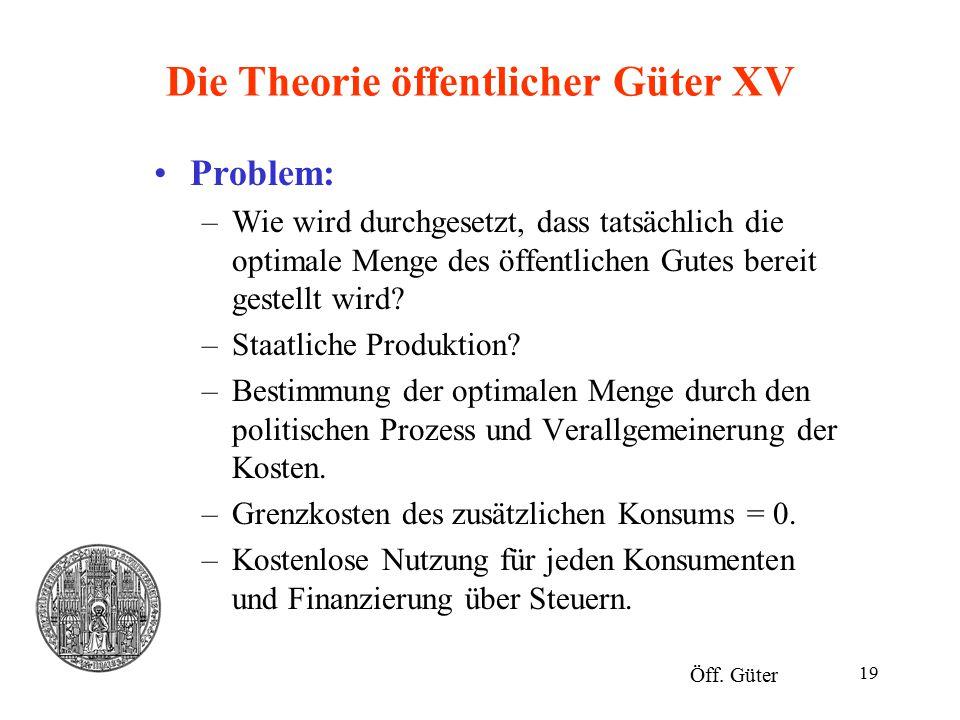 19 Die Theorie öffentlicher Güter XV Problem: –Wie wird durchgesetzt, dass tatsächlich die optimale Menge des öffentlichen Gutes bereit gestellt wird?
