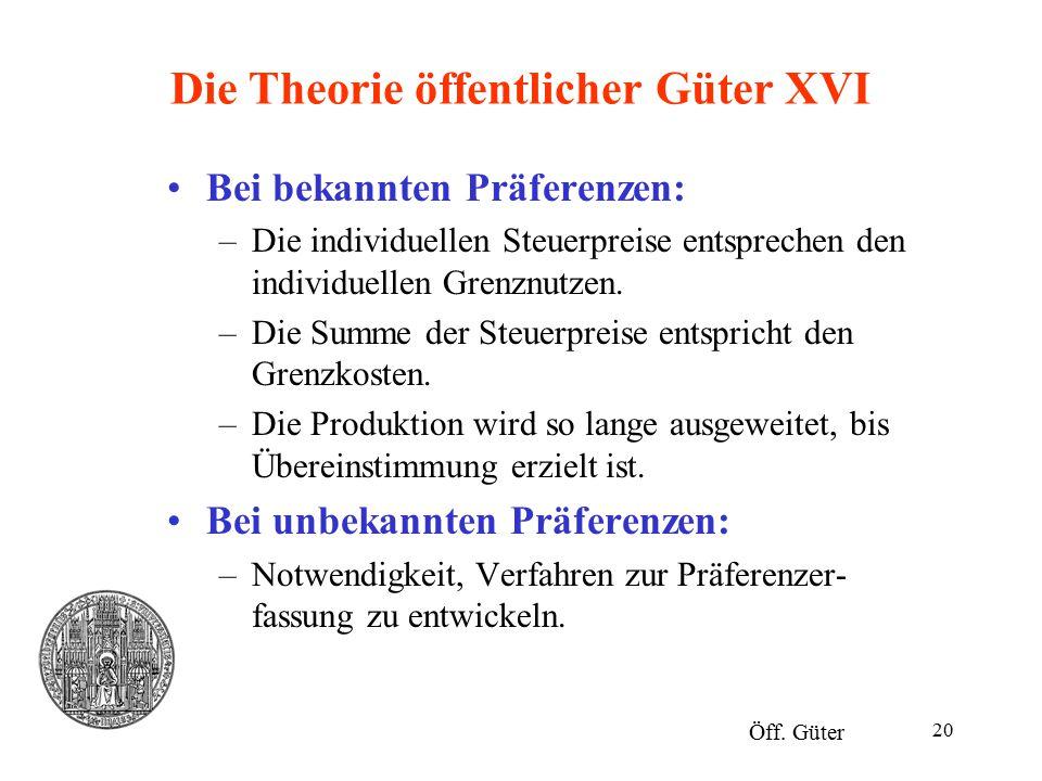 20 Die Theorie öffentlicher Güter XVI Bei bekannten Präferenzen: –Die individuellen Steuerpreise entsprechen den individuellen Grenznutzen. –Die Summe