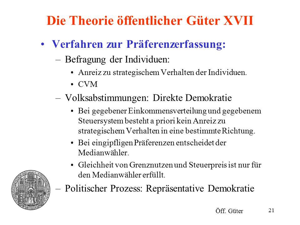 21 Die Theorie öffentlicher Güter XVII Verfahren zur Präferenzerfassung: –Befragung der Individuen: Anreiz zu strategischem Verhalten der Individuen.