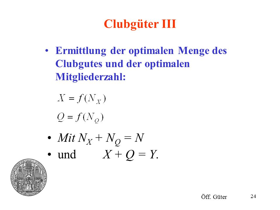 24 Clubgüter III Ermittlung der optimalen Menge des Clubgutes und der optimalen Mitgliederzahl: Öff. Güter Mit N X + N Q = N und X + Q = Y.