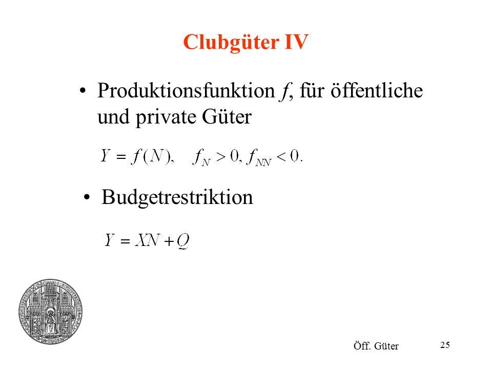 25 Clubgüter IV Produktionsfunktion f, für öffentliche und private Güter Öff. Güter Budgetrestriktion