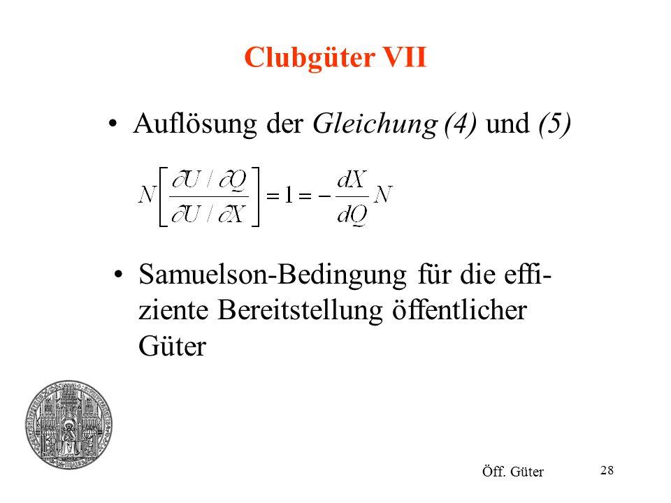 28 Clubgüter VII Auflösung der Gleichung (4) und (5) Öff. Güter Samuelson-Bedingung für die effi- ziente Bereitstellung öffentlicher Güter
