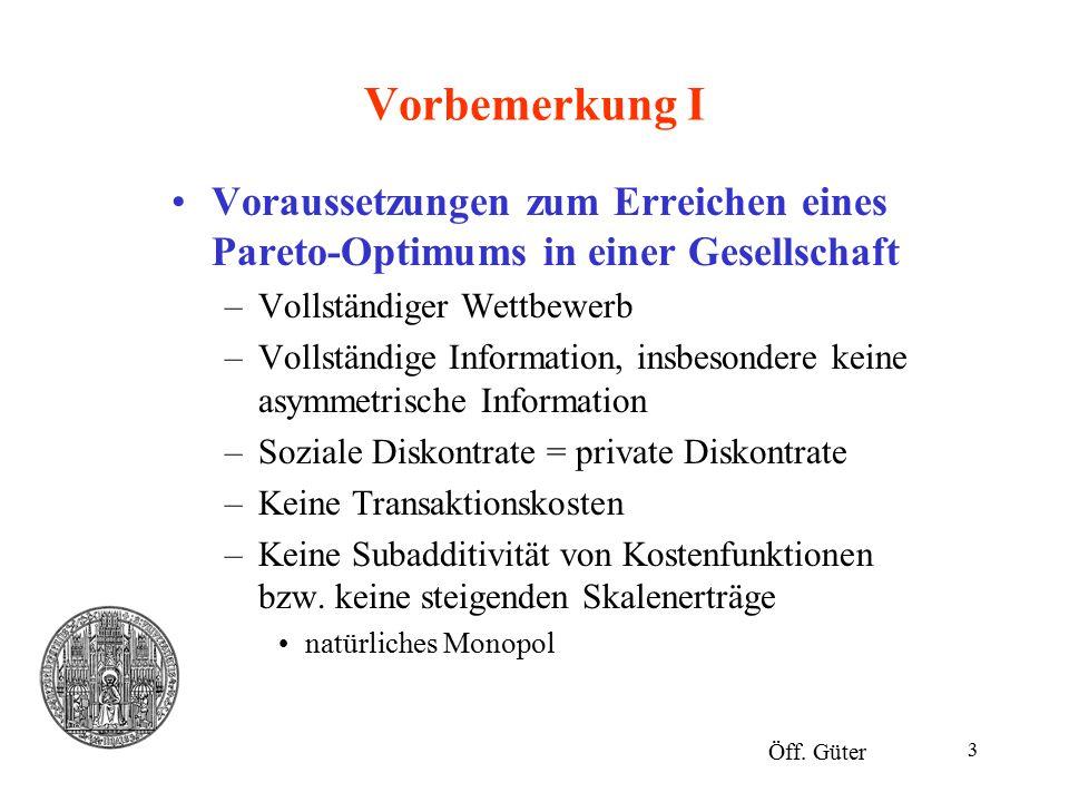 3 Vorbemerkung I Voraussetzungen zum Erreichen eines Pareto-Optimums in einer Gesellschaft –Vollständiger Wettbewerb –Vollständige Information, insbes