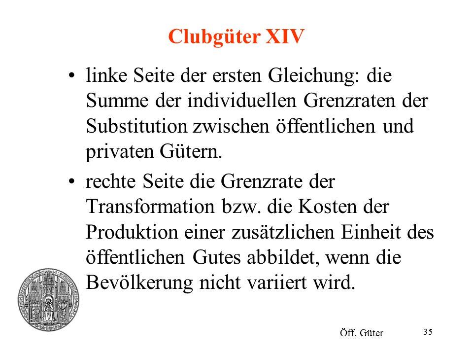 35 Clubgüter XIV linke Seite der ersten Gleichung: die Summe der individuellen Grenzraten der Substitution zwischen öffentlichen und privaten Gütern.