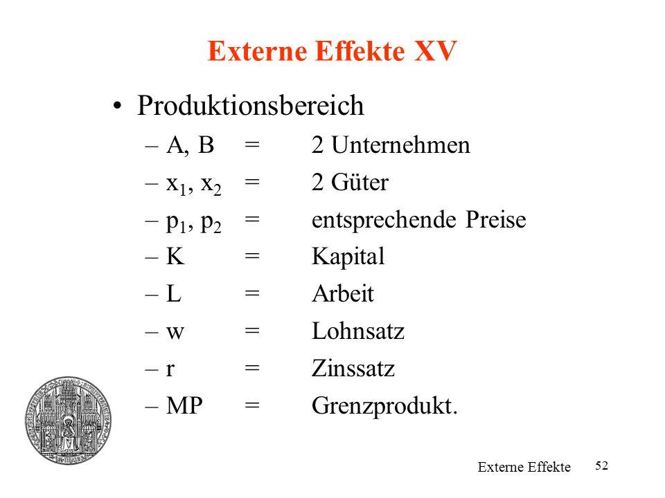 52 Externe Effekte XV Externe Effekte Produktionsbereich –A, B=2 Unternehmen –x 1, x 2 =2 Güter –p 1, p 2 =entsprechende Preise –K=Kapital –L=Arbeit –