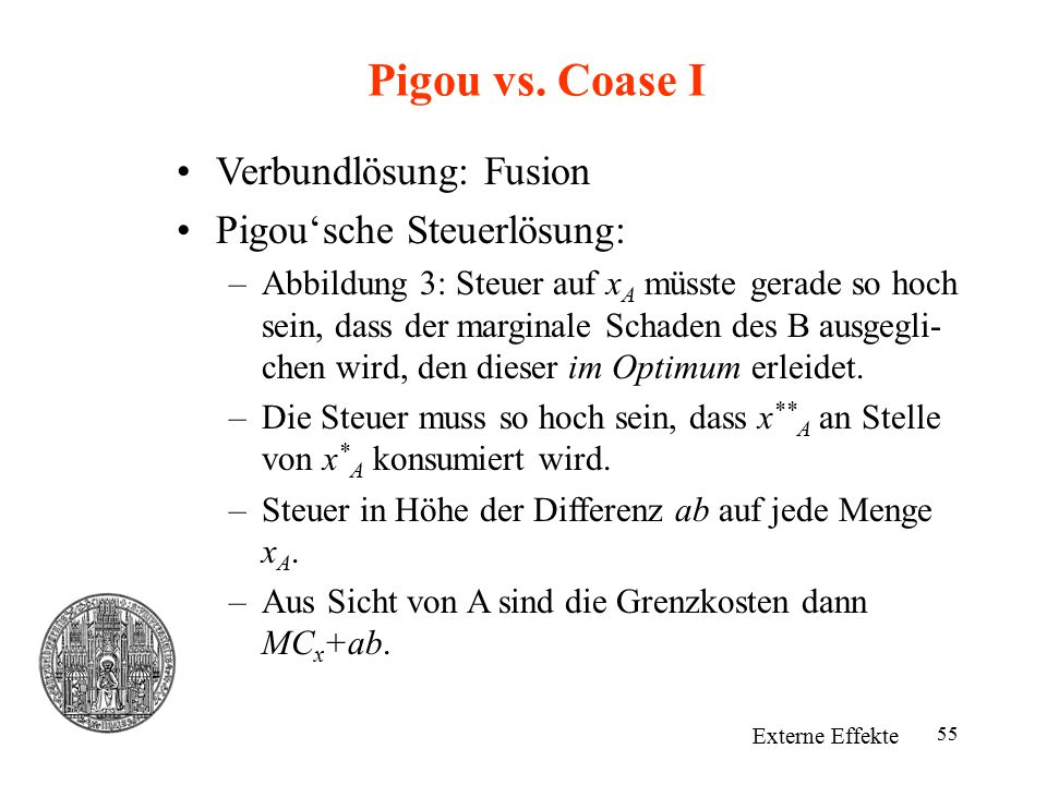 55 Pigou vs. Coase I Externe Effekte Verbundlösung: Fusion Pigou'sche Steuerlösung: –Abbildung 3: Steuer auf x A müsste gerade so hoch sein, dass der