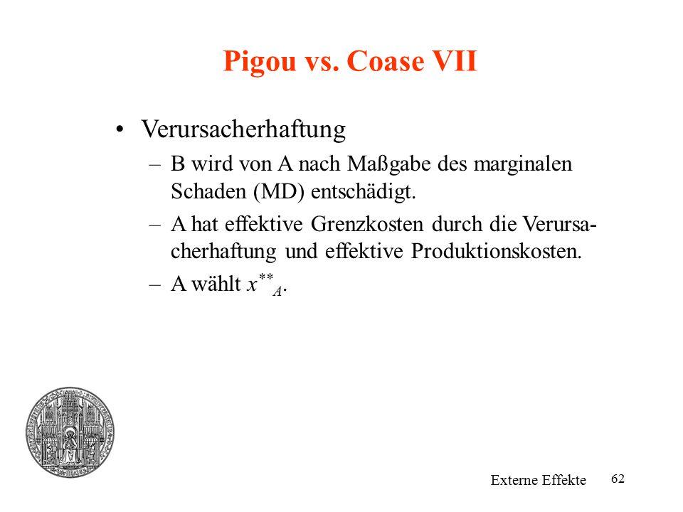 62 Pigou vs. Coase VII Externe Effekte Verursacherhaftung –B wird von A nach Maßgabe des marginalen Schaden (MD) entschädigt. –A hat effektive Grenzko