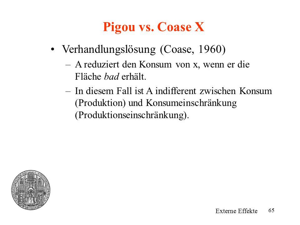 65 Pigou vs. Coase X Externe Effekte Verhandlungslösung (Coase, 1960) –A reduziert den Konsum von x, wenn er die Fläche bad erhält. –In diesem Fall is