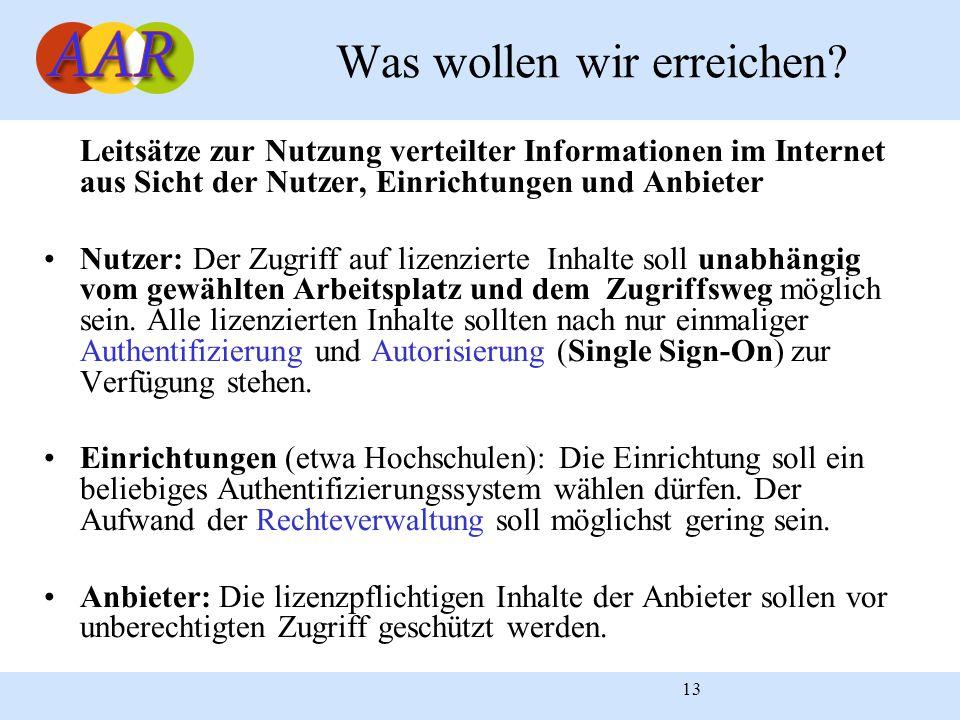 13 Leitsätze zur Nutzung verteilter Informationen im Internet aus Sicht der Nutzer, Einrichtungen und Anbieter Nutzer: Der Zugriff auf lizenzierte Inh
