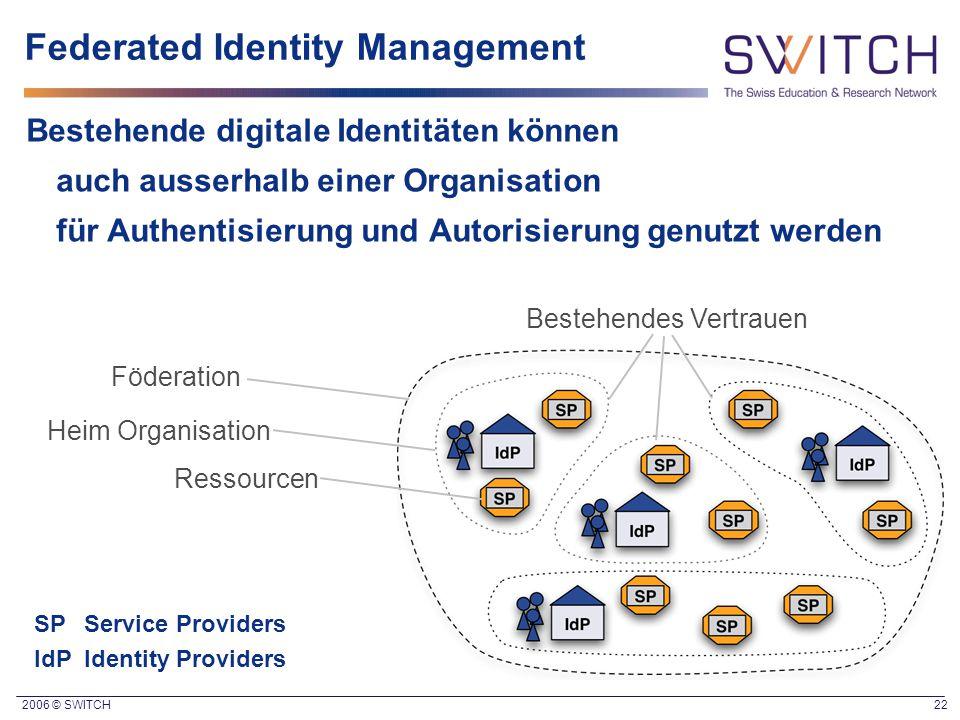 2006 © SWITCH 22 Bestehende digitale Identitäten können auch ausserhalb einer Organisation für Authentisierung und Autorisierung genutzt werden Födera