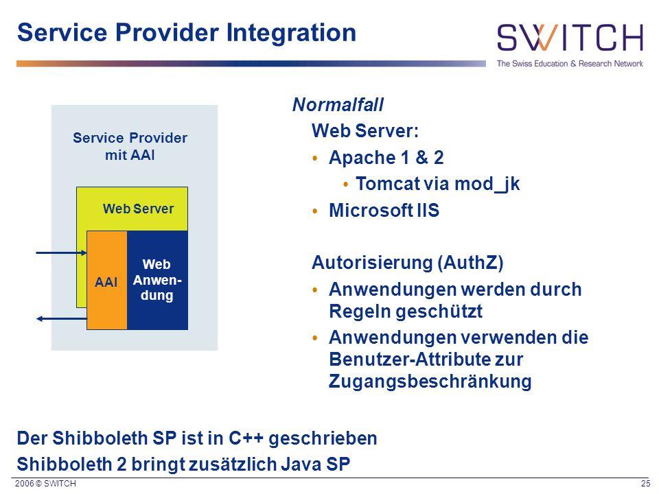 2006 © SWITCH 25 Service Provider Integration Normalfall Web Server: Apache 1 & 2 Tomcat via mod_jk Microsoft IIS Autorisierung (AuthZ) Anwendungen werden durch Regeln geschützt Anwendungen verwenden die Benutzer-Attribute zur Zugangsbeschränkung AAI Web Server Web Anwen- dung Service Provider mit AAI Der Shibboleth SP ist in C++ geschrieben Shibboleth 2 bringt zusätzlich Java SP