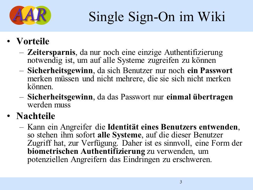 3 Single Sign-On im Wiki Vorteile –Zeitersparnis, da nur noch eine einzige Authentifizierung notwendig ist, um auf alle Systeme zugreifen zu können –S