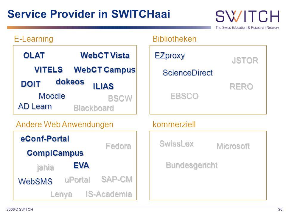 2006 © SWITCH 36 Service Provider in SWITCHaai E-LearningBibliotheken Andere Web Anwendungen DOIT VITELS WebCT Vista AD Learn EZproxy kommerziell Scie