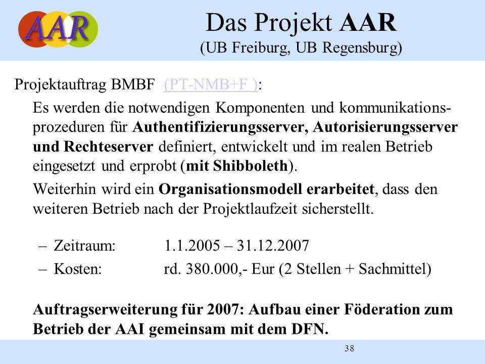 38 Das Projekt AAR (UB Freiburg, UB Regensburg) Projektauftrag BMBF (PT-NMB+F ):(PT-NMB+F ) Es werden die notwendigen Komponenten und kommunikations-