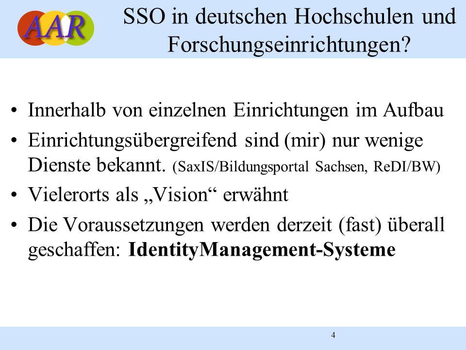 4 SSO in deutschen Hochschulen und Forschungseinrichtungen? Innerhalb von einzelnen Einrichtungen im Aufbau Einrichtungsübergreifend sind (mir) nur we