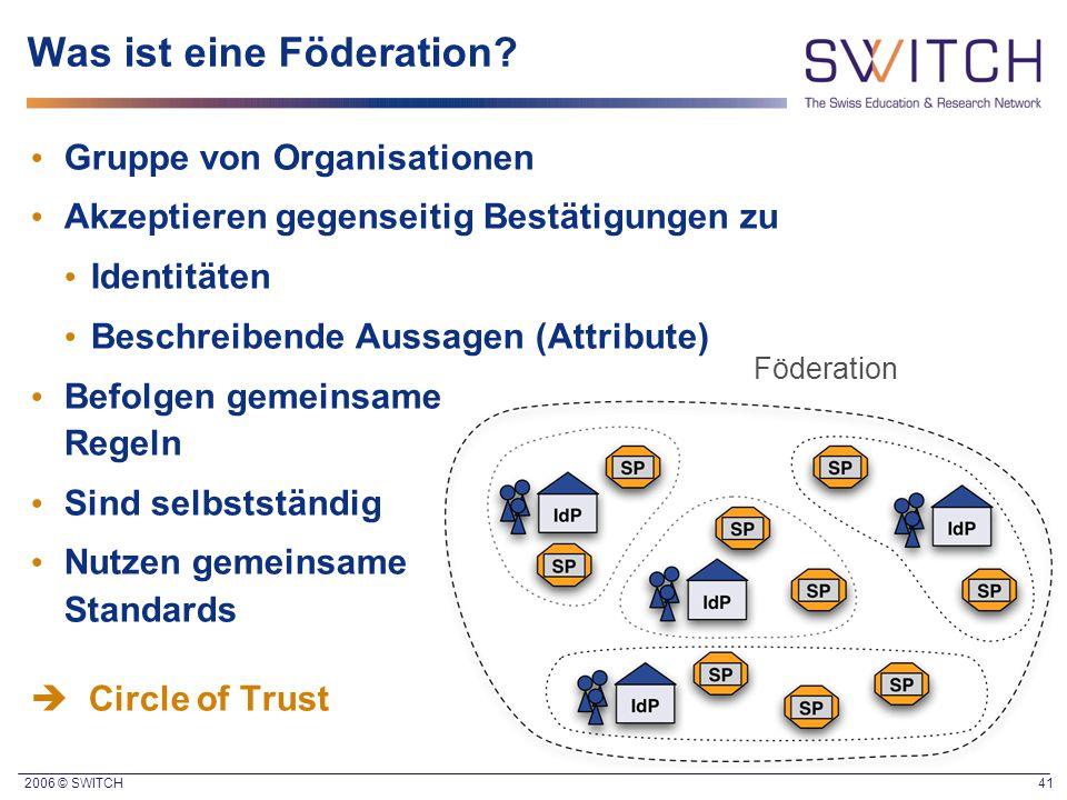 2006 © SWITCH 41 Was ist eine Föderation? Gruppe von Organisationen Akzeptieren gegenseitig Bestätigungen zu Identitäten Beschreibende Aussagen (Attri
