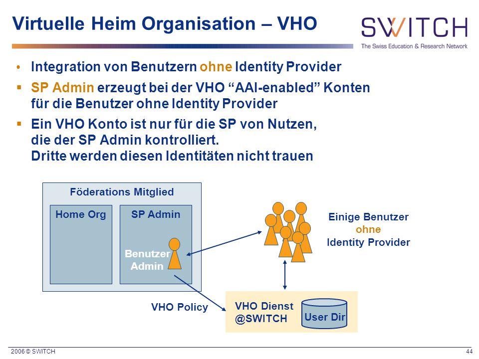 """2006 © SWITCH 44 Virtuelle Heim Organisation – VHO Integration von Benutzern ohne Identity Provider  SP Admin erzeugt bei der VHO """"AAI-enabled"""" Konte"""