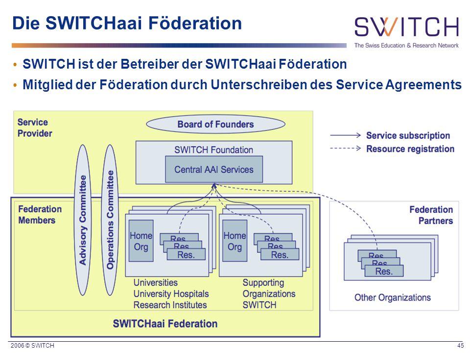 2006 © SWITCH 45 Die SWITCHaai Föderation SWITCH ist der Betreiber der SWITCHaai Föderation Mitglied der Föderation durch Unterschreiben des Service A