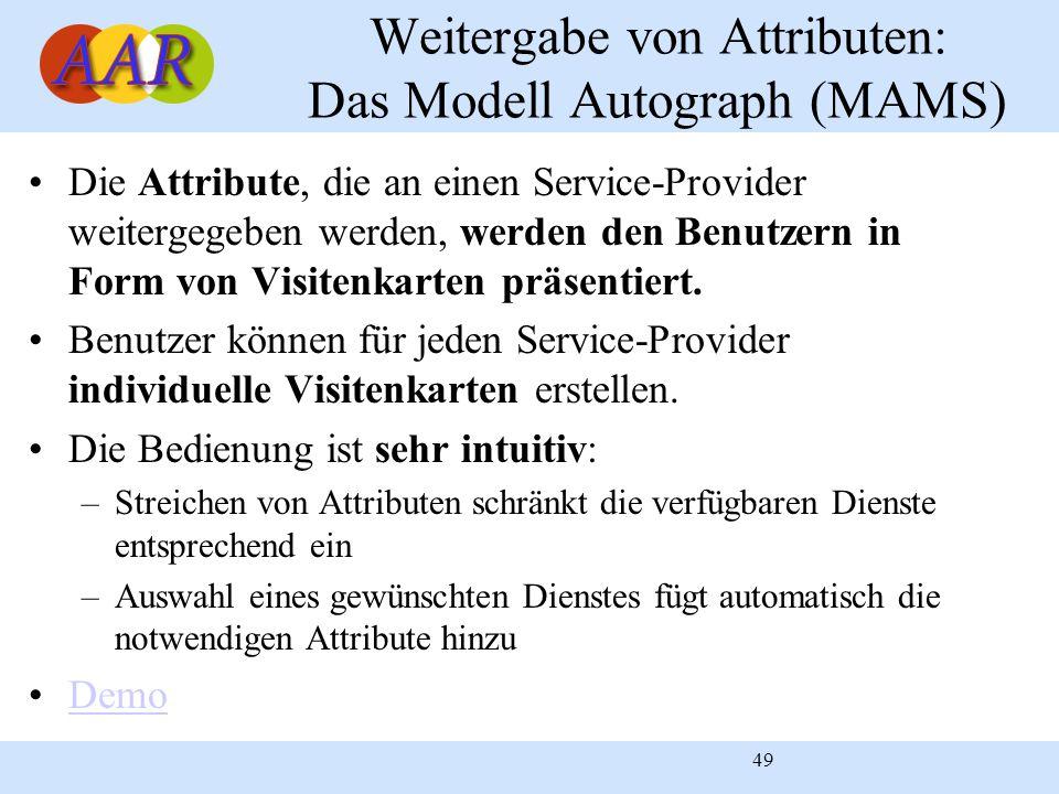 49 Weitergabe von Attributen: Das Modell Autograph (MAMS) Die Attribute, die an einen Service-Provider weitergegeben werden, werden den Benutzern in F