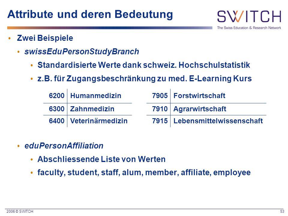 2006 © SWITCH 53 Attribute und deren Bedeutung Zwei Beispiele swissEduPersonStudyBranch Standardisierte Werte dank schweiz. Hochschulstatistik z.B. fü
