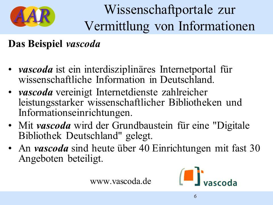 6 Wissenschaftportale zur Vermittlung von Informationen Das Beispiel vascoda vascoda ist ein interdisziplinäres Internetportal für wissenschaftliche I