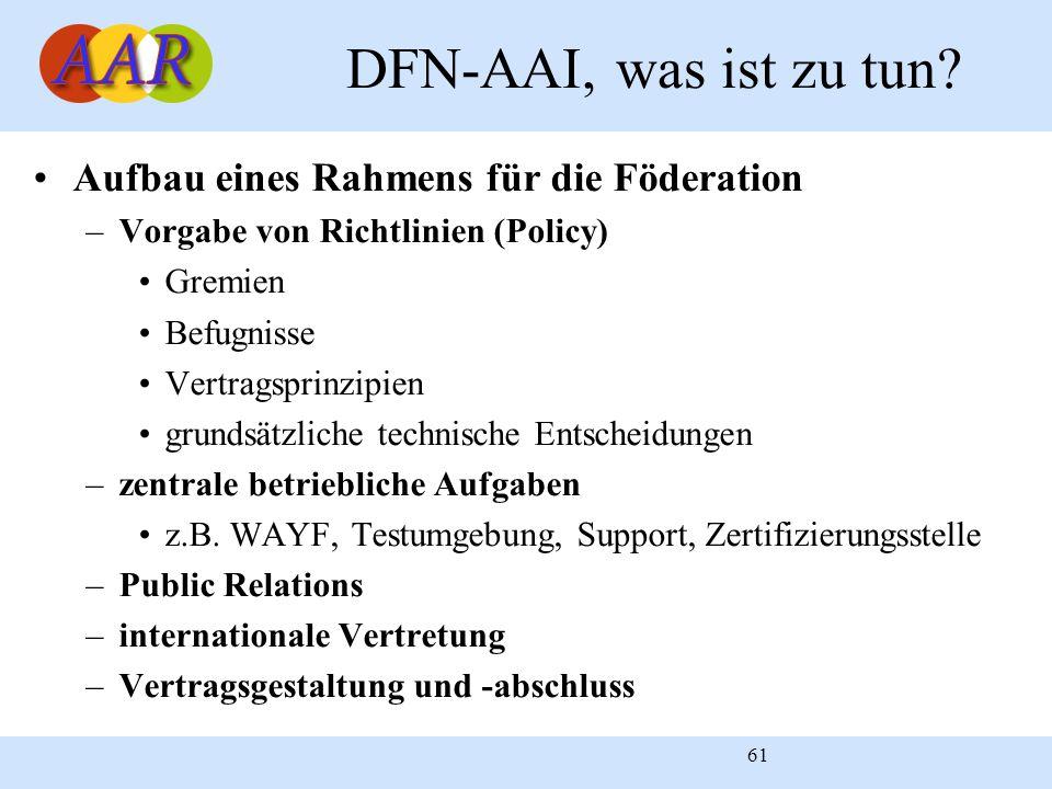61 DFN-AAI, was ist zu tun? Aufbau eines Rahmens für die Föderation –Vorgabe von Richtlinien (Policy) Gremien Befugnisse Vertragsprinzipien grundsätzl