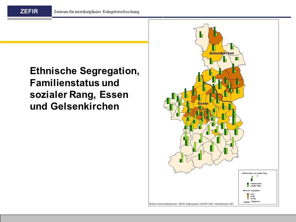 Zentrum für interdisziplinäre Ruhrgebietsforschung Ethnische Segregation, Familienstatus und sozialer Rang, Essen und Gelsenkirchen