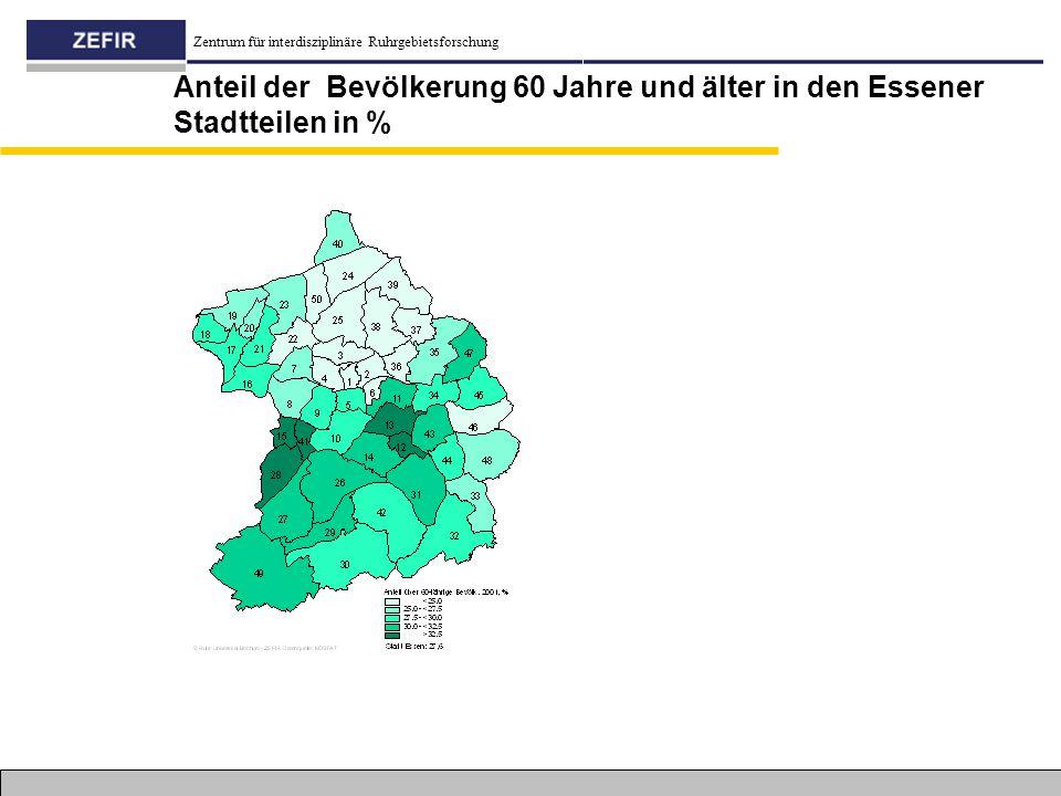Zentrum für interdisziplinäre Ruhrgebietsforschung Anteil der Bevölkerung 60 Jahre und älter in den Essener Stadtteilen in %
