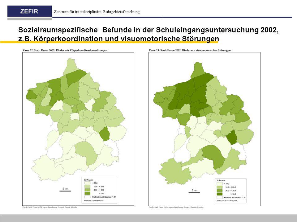 Zentrum für interdisziplinäre Ruhrgebietsforschung Sozialraumspezifische Befunde in der Schuleingangsuntersuchung 2002, z.B. Körperkoordination und vi