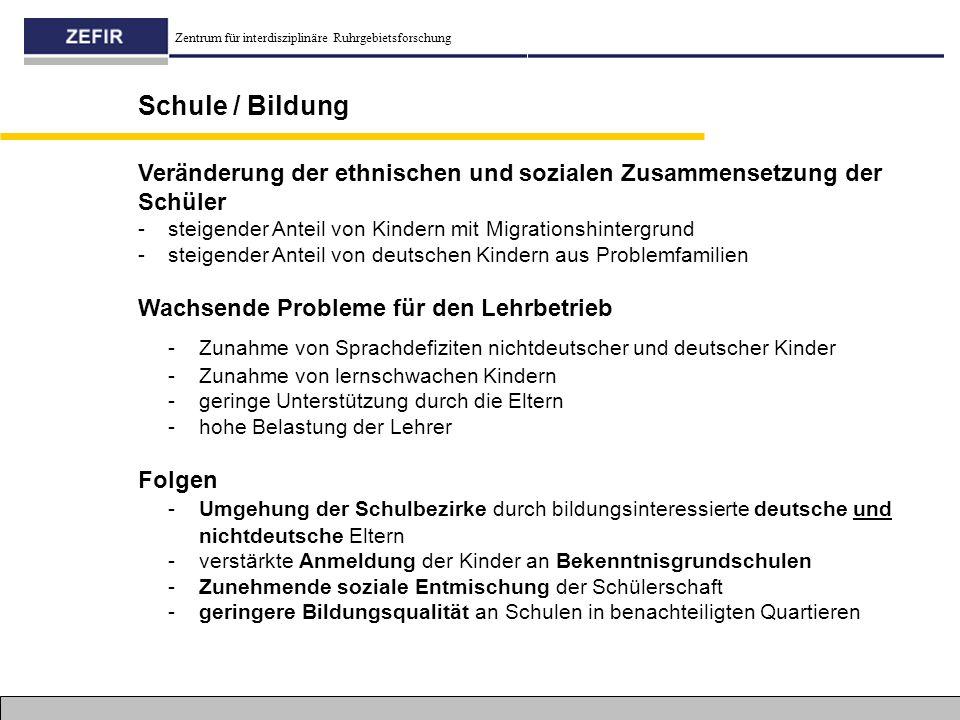 Zentrum für interdisziplinäre Ruhrgebietsforschung Schule / Bildung Wachsende Probleme für den Lehrbetrieb - Zunahme von Sprachdefiziten nichtdeutsche
