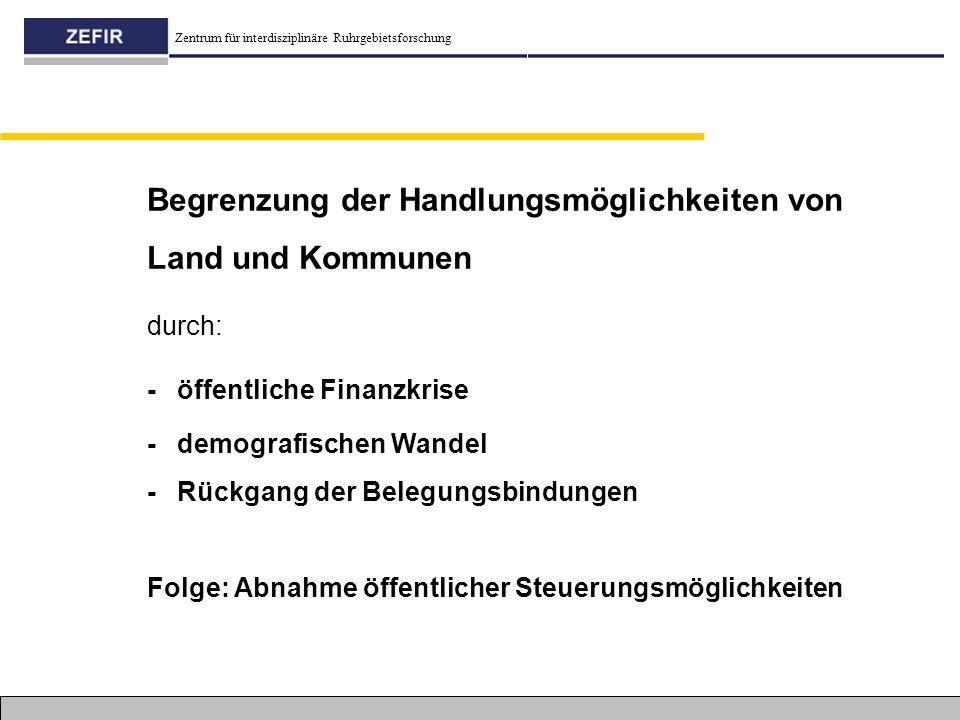 Zentrum für interdisziplinäre Ruhrgebietsforschung Begrenzung der Handlungsmöglichkeiten von Land und Kommunen durch: - öffentliche Finanzkrise - demo