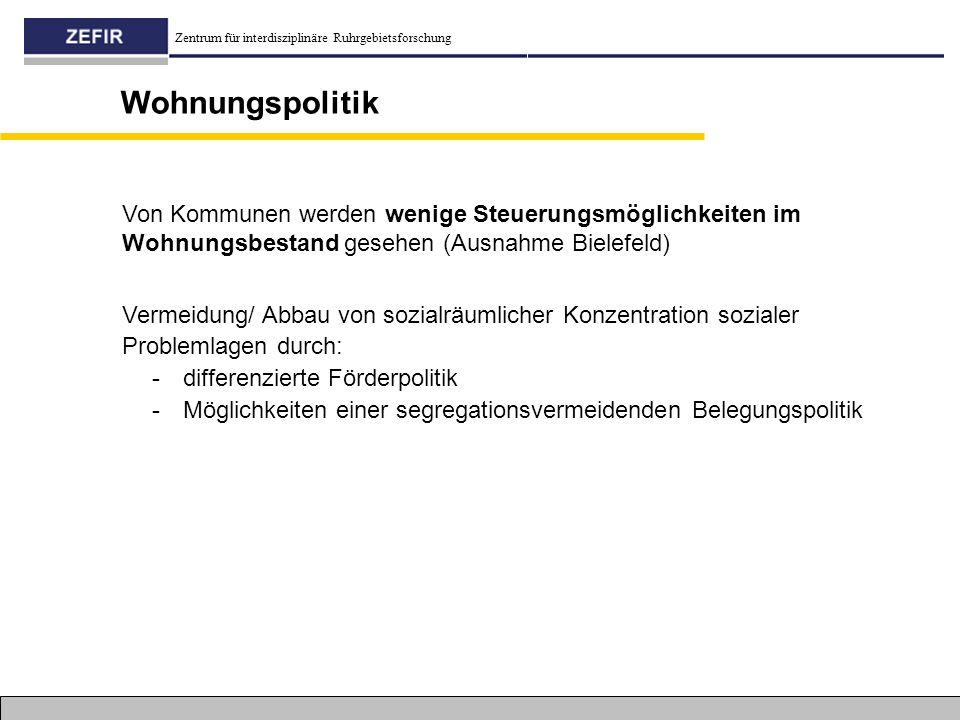 Zentrum für interdisziplinäre Ruhrgebietsforschung Wohnungspolitik Vermeidung/ Abbau von sozialräumlicher Konzentration sozialer Problemlagen durch: -