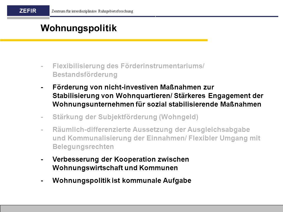 Zentrum für interdisziplinäre Ruhrgebietsforschung Wohnungspolitik - Flexibilisierung des Förderinstrumentariums/ Bestandsförderung - Förderung von ni