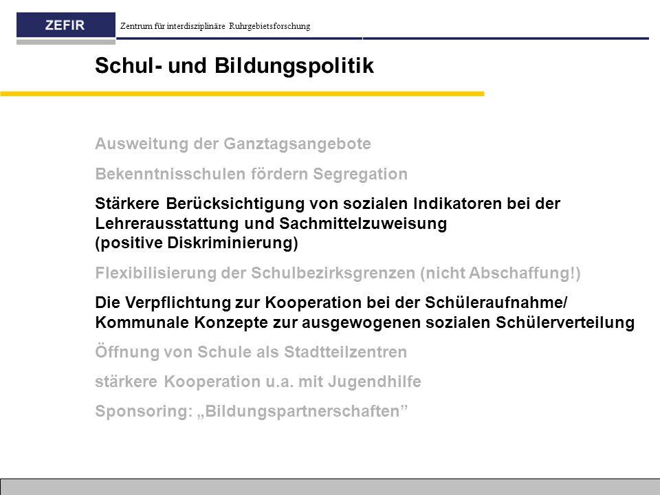 Zentrum für interdisziplinäre Ruhrgebietsforschung Schul- und Bildungspolitik Ausweitung der Ganztagsangebote Bekenntnisschulen fördern Segregation St