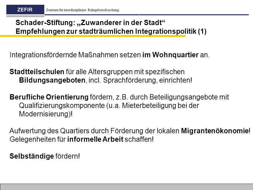"""Zentrum für interdisziplinäre Ruhrgebietsforschung Schader-Stiftung: """" Zuwanderer in der Stadt"""" Empfehlungen zur stadträumlichen Integrationspolitik ("""