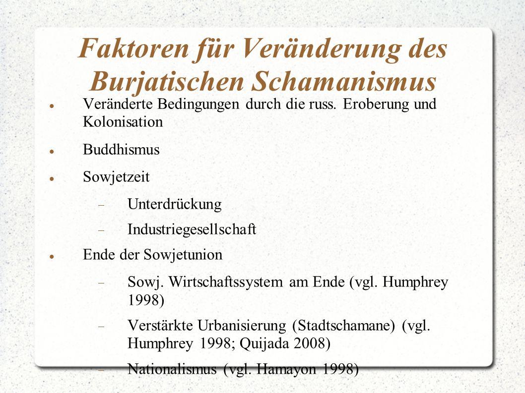 Faktoren für Veränderung des Burjatischen Schamanismus Veränderte Bedingungen durch die russ. Eroberung und Kolonisation Buddhismus Sowjetzeit  Unter