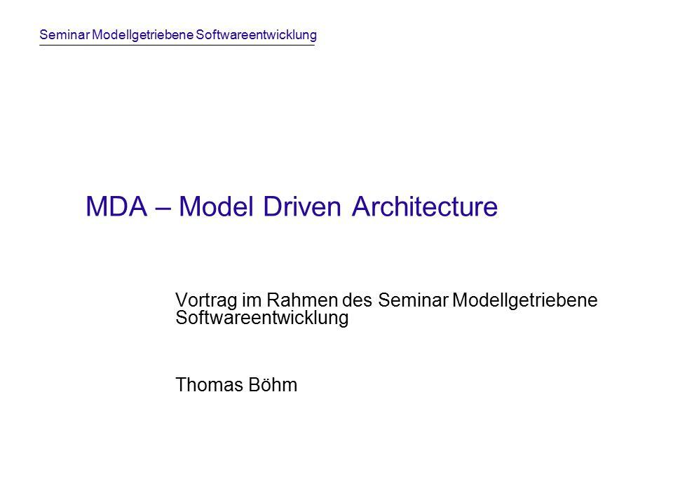 Seminar Modellgetriebene Softwareentwicklung MDA – Model Driven Architecture Vortrag im Rahmen des Seminar Modellgetriebene Softwareentwicklung Thomas Böhm