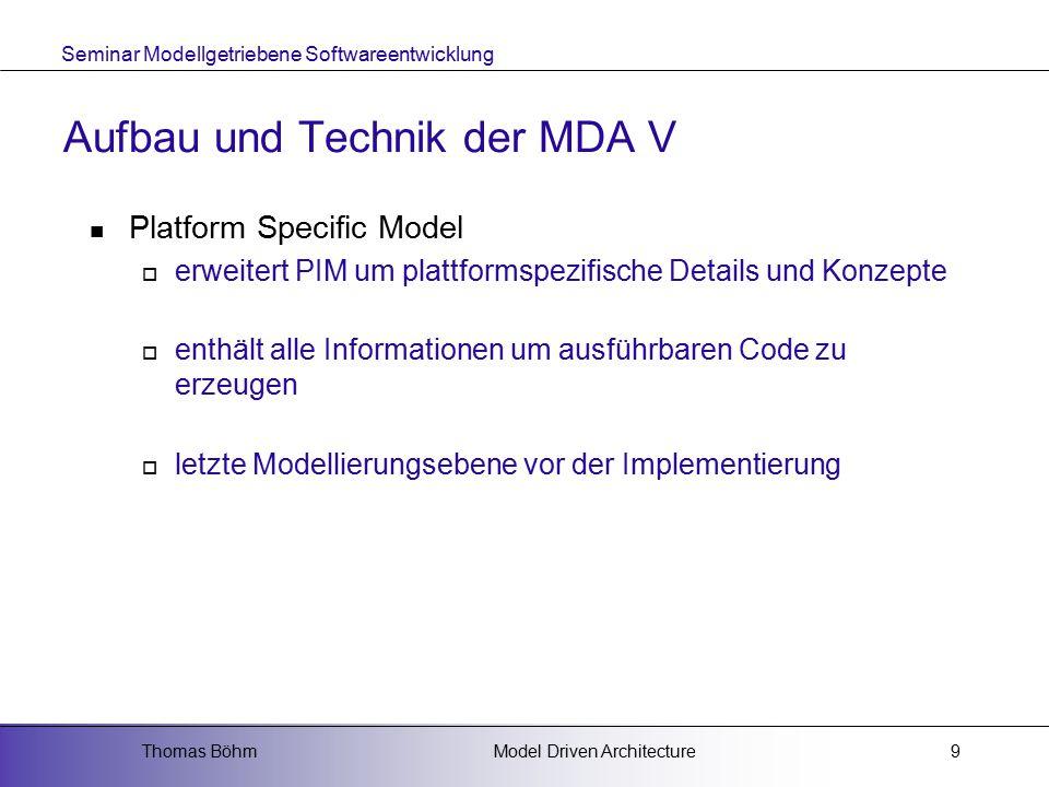 Seminar Modellgetriebene Softwareentwicklung Model Driven ArchitectureThomas Böhm9 Aufbau und Technik der MDA V Platform Specific Model  erweitert PIM um plattformspezifische Details und Konzepte  enthält alle Informationen um ausführbaren Code zu erzeugen  letzte Modellierungsebene vor der Implementierung