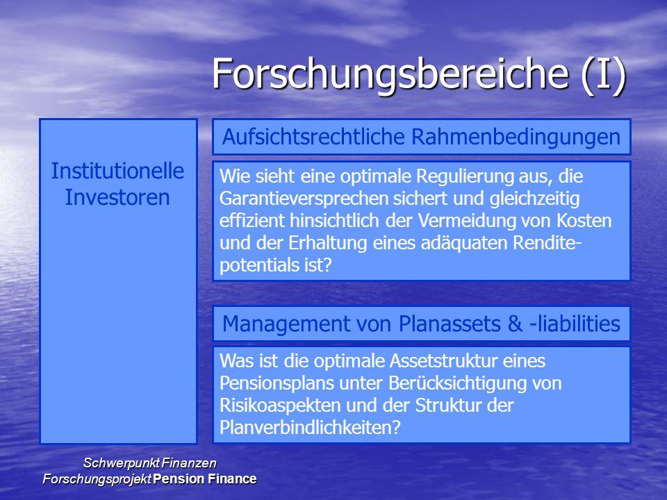 Schwerpunkt Finanzen Forschungsprojekt Pension Finance Forschungsbereiche (I) Institutionelle Investoren Aufsichtsrechtliche Rahmenbedingungen Managem