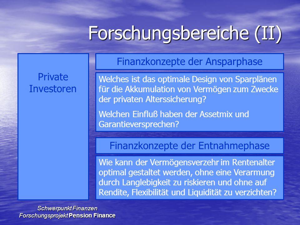 Schwerpunkt Finanzen Forschungsprojekt Pension Finance Forschungsbereiche (II) Private Investoren Finanzkonzepte der Ansparphase Finanzkonzepte der En