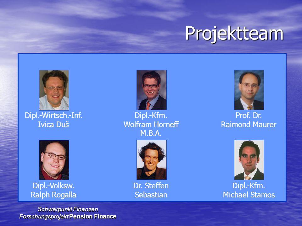 Schwerpunkt Finanzen Forschungsprojekt Pension Finance Projektteam Dipl.-Wirtsch.-Inf.Dipl.-Kfm.Prof. Dr. Ivica DušWolfram HorneffRaimond Maurer M.B.A