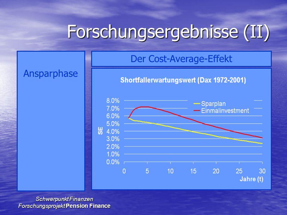 Schwerpunkt Finanzen Forschungsprojekt Pension Finance Forschungsergebnisse (II) Ansparphase Der Cost-Average-Effekt