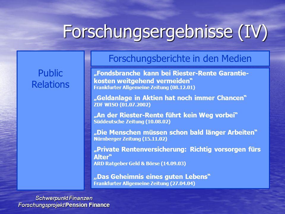 """Schwerpunkt Finanzen Forschungsprojekt Pension Finance Forschungsergebnisse (IV) Public Relations Forschungsberichte in den Medien """"Fondsbranche kann"""