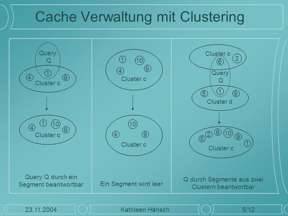 Cache Verwaltung mit Clustering 5/12 Kathleen Hänsch23.11.2004 Cluster c 49 1 Query Q Cluster c 4 9 1 10 Cluster c 49 10 Cluster c 4 9 1 10 Cluster d