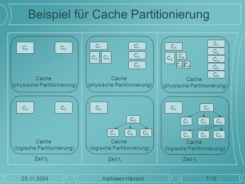 Beispiel für Cache Partitionierung 7/12 Kathleen Hänsch23.11.2004 Cache (physische Partitionierung) Zeit t 0 Cache (logische Partitionierung) C0C0 C0C