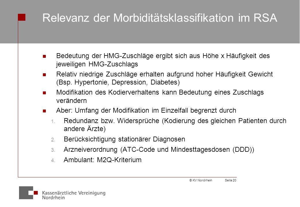 © KV NordrheinSeite 20 Relevanz der Morbiditätsklassifikation im RSA Bedeutung der HMG-Zuschläge ergibt sich aus Höhe x Häufigkeit des jeweiligen HMG-Zuschlags Relativ niedrige Zuschläge erhalten aufgrund hoher Häufigkeit Gewicht (Bsp.