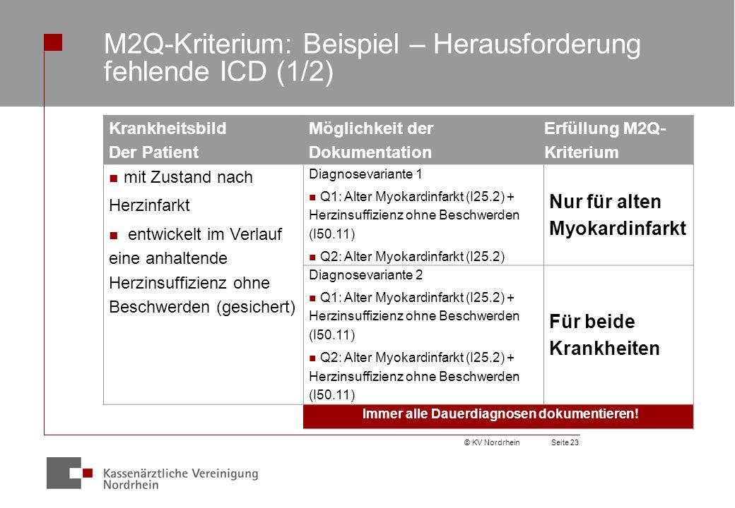 © KV NordrheinSeite 23 M2Q-Kriterium: Beispiel – Herausforderung fehlende ICD (1/2) Krankheitsbild Der Patient Möglichkeit der Dokumentation Erfüllung M2Q- Kriterium mit Zustand nach Herzinfarkt entwickelt im Verlauf eine anhaltende Herzinsuffizienz ohne Beschwerden (gesichert) Diagnosevariante 1 Q1: Alter Myokardinfarkt (I25.2) + Herzinsuffizienz ohne Beschwerden (I50.11) Q2: Alter Myokardinfarkt (I25.2) Nur für alten Myokardinfarkt Diagnosevariante 2 Q1: Alter Myokardinfarkt (I25.2) + Herzinsuffizienz ohne Beschwerden (I50.11) Q2: Alter Myokardinfarkt (I25.2) + Herzinsuffizienz ohne Beschwerden (I50.11) Für beide Krankheiten Immer alle Dauerdiagnosen dokumentieren!